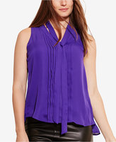Lauren Ralph Lauren Plus Size Pleated-Front Georgette Tank Top