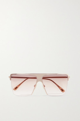 Tom Ford Sofi Square-frame Gold-tone And Acetate Sunglasses - Pink