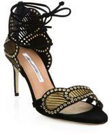 Brian Atwood Gabriella Grommeted Laser-Cut Leather Ankle-Wrap Sandals