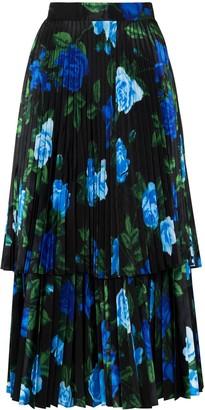 Richard Quinn Floral-Print Pleated Skirt