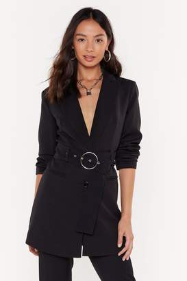 Nasty Gal Womens Ring It Back Longline Belted Blazer - Black - S, Black