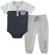 Calvin Klein 2-Pc. Henley Bodysuit & Pants Set, Baby Boys (0-24 months)