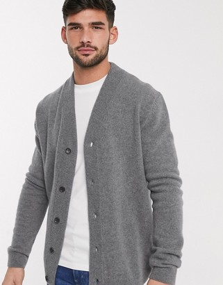 Paul Smith lambswool button up cardigan in gray