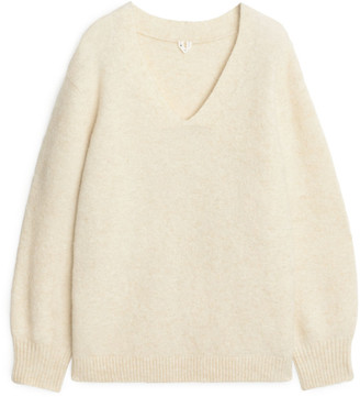 Arket Alpaca V-Neck Sweater