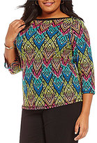 Westbound Plus Boat Neck 3/4 Sleeve Printed Top