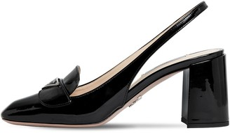 Prada 70mm Patent Leather Sling Back Pumps