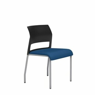 Steelcase Move Guest Chair Metal Arms Included: Not Included, Seat Fabric: Buzz2 - Blue, Shell Color: White, Casters/Glides: Hard Floor Glides, Frame