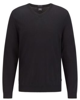 BOSS V-neck sweater in mulesing-free wool