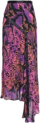 House of Holland Asymmetric Grosgrain-trimmed Snake-print Gauze Midi Skirt
