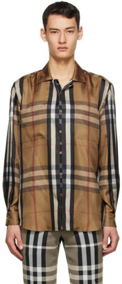 Burberry Brown Silk Twill Reconstructed Shirt