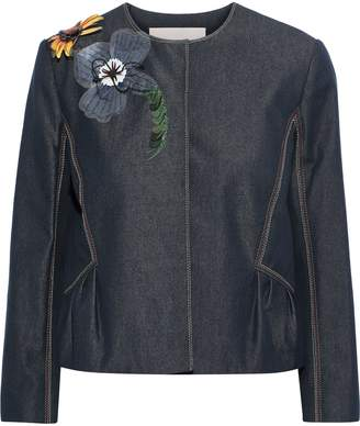 Carolina Herrera Floral-appliqued Denim Jacket