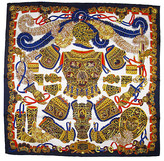 One Kings Lane Vintage Hermes Sous l'Egide de Mars Scarf with Box - The Emporium Ltd. - navy blue/white/gold/orange/periwinkle/cognac/multi