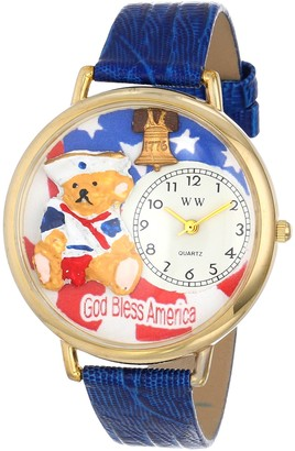 Whimsical Watches Patriotic Teddy Bear Royal Blue Leather and Goldtone Unisex Quartz Watch with White Dial Analogue Display and Multicolour Leather Strap G-0230004