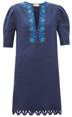ZEUS + DIONE Sitia Floral-embroidered Linen Mini Dress - Navy