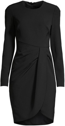 Black Halo Ivana Ruched Faux Wrap Sheath Dress