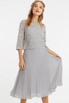 Oasis Pale Grey 3/4 Sleeve Lace Pleated Midi Dress