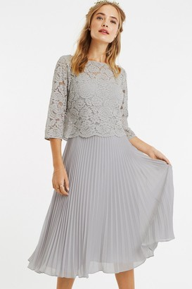 Oasis Pale Grey 3/4 Sleeve Lace Pleated Midi Dress