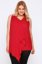 Yours Clothing Red Sleeveless Top With Layered Waterfall Front