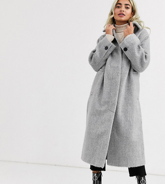 ASOS DESIGN Petite collared button through coat in gray