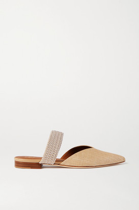 Malone Souliers Maisie Cord-trimmed Raffia Point-toe Flats - Sand