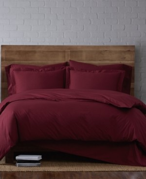 Brooklyn Loom Solid Cotton Percale King 3-Pc. Duvet Set Bedding