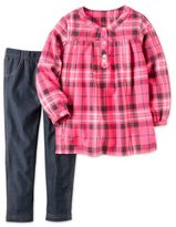 Carter's 2-Piece Sparkle Plaid Flannel Top and Legging Set in Pink/Denim