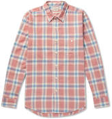 Faherty Seaview Checked Cotton-flannel Shirt - Coral