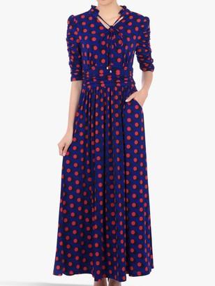 Jolie Moi Tie Neck Half Sleeve Geo Print Dress, Blue/Multi