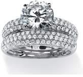 Seta Jewelry 2 Piece 3.28 Tcw Pave Cubic Zirconia Bridal Ring Set In 10k White Gold.