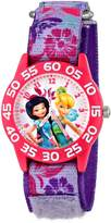 Disney Kids' W001185 Fairies Time Teacher Watch with Printed Purple Nylon Band