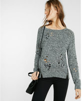 Express Marled Distressed Long Sleeve Side Zip Sweater