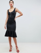 Asos Design Midi Pencil Dress With Contrast Stitch Detail and Pep Hem