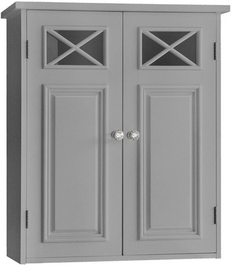 Elegant Home Fashions Dawson Wall Cabinet With 2 Doors with Grey Finish
