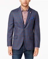 Ben Sherman Men's Slim-Fit Blue/Red Windowpane Plaid Sport Coat