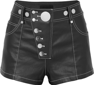 Alexander Wang Studded Coated Denim Shorts
