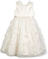 Joan Calabrese Sleeveless Satin & Embroidered Tulle Special Occasion Dress, Ivory, Size 4-14