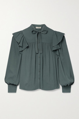 Ulla Johnson Tabitha Pussy-bow Ruffled Crepe Blouse - Gray green