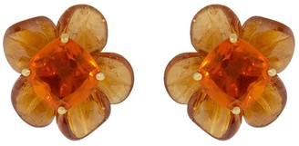 Irene Neuwirth 18kt yellow gold One-Of-A-Kind Tropical Flower opal and garnet studs
