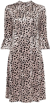 HVN Ashley leopard print midi dress