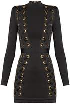Balmain High-neck lace-up mini dress