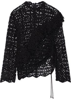 IRO Lamata Ruffled Cotton Macrame Lace Top