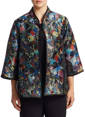 Caroline Rose Caroline Rose, Plus Size Contrast Piping Jacket