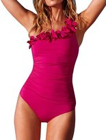 Kisstyle Women's Lovely One Shoulder Flowers Ruched Beach One-piece Swimsuit L