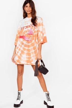 Nasty Gal Womens Eye Like It Like That Tie Dye Tee Dress - Peach