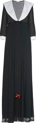 Miu Miu V-neck contrast-collar gown