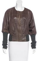 Catherine Malandrino Wool-Trimmed Leather Jacket