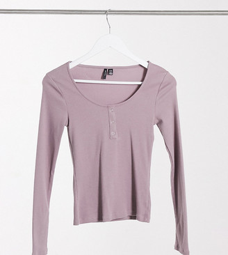Vero Moda Petite ribbed top with scoop neck in mauve