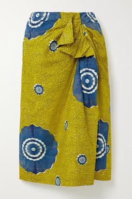 Ulla Johnson Ember Wrap-effect Ruffled Printed Cotton-poplin Midi Skirt - Sage green