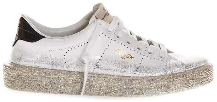 Golden Goose White Ggdb Glitter Spray Tennis Sneaker