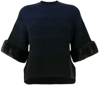 Fendi Ombre Fur-Trim Knitted Top